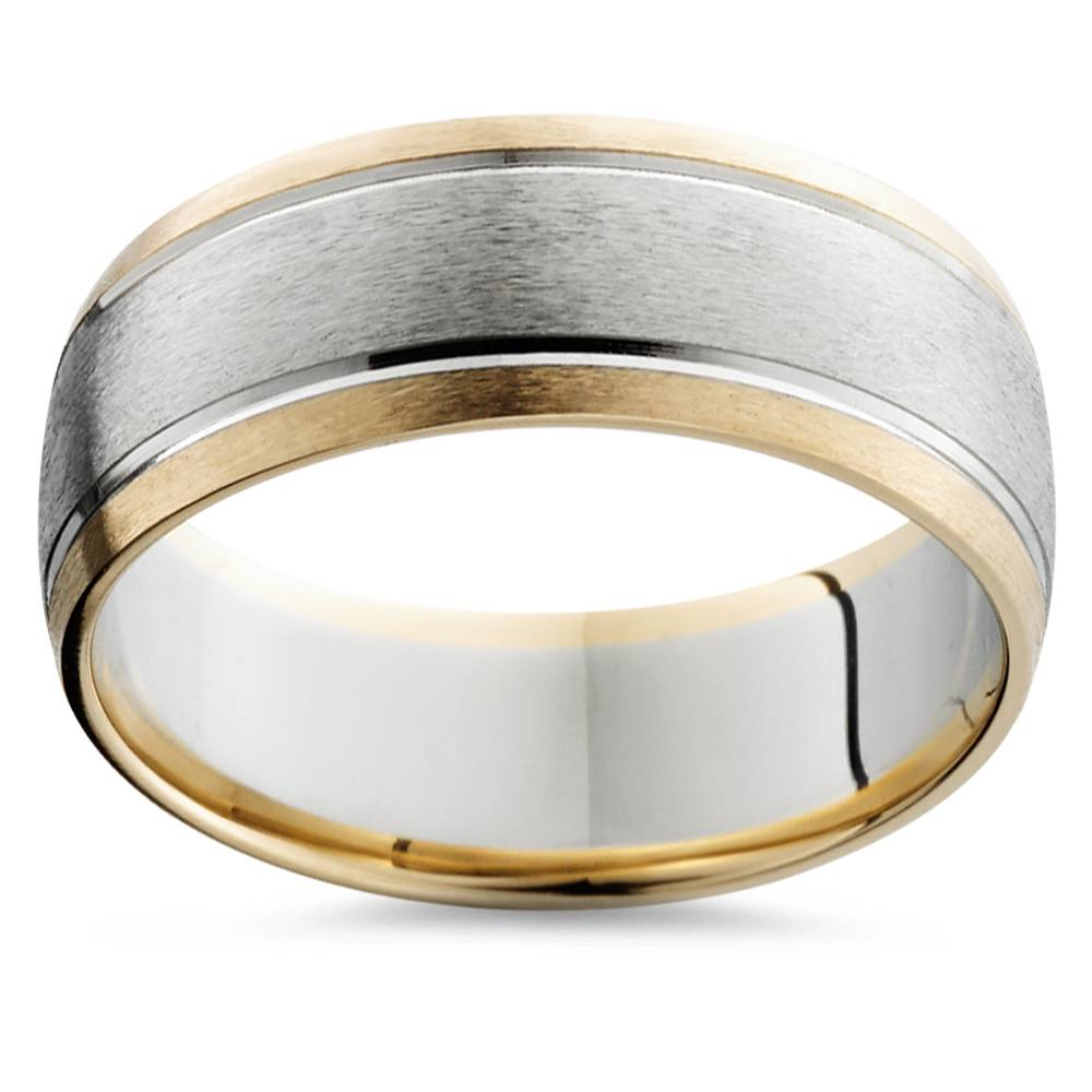 Mens Gold 8mm Two Tone Comfort Fit Wedding Band Ring - image 1 de 1