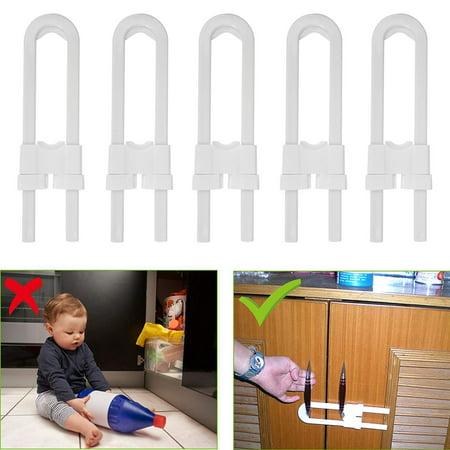 (5 Pack) Child Safety Sliding Cabinet Locks, EEEKit Baby Safety Cabinet  Latch Locks for Kitchen Bathroom Storage Doors U Shaped