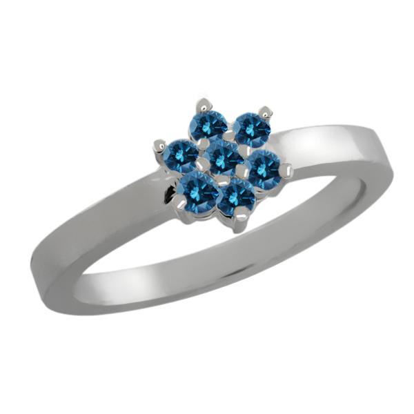 0.23 Ct Round Blue Diamond 18K White Gold Flower Ring