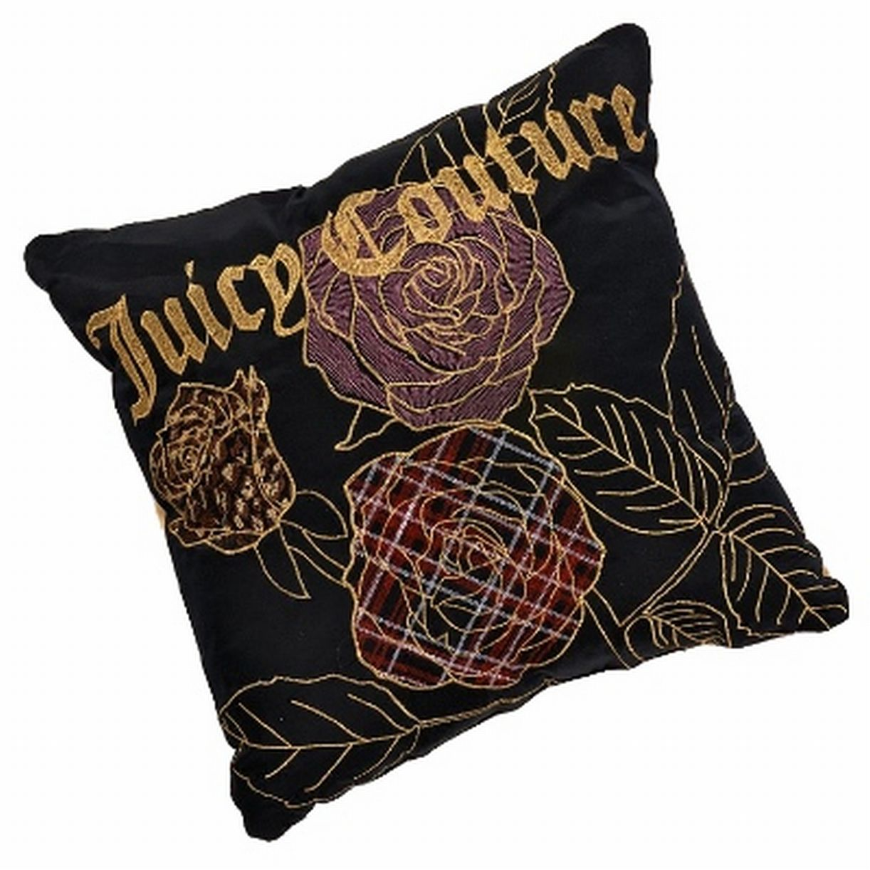 Juicy Couture Black With Gold Rose Throw Pillow Gilded Accent Toss Cushion