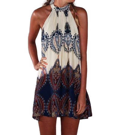Dresses for Women Sleeveless Halter Tank Ethnic Mini