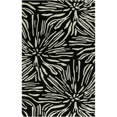 Tufted Zebra Rug (2' x 3' Zebra Flowers Black and Ivory Hand Tufted New Zealand Wool Area Throw Rug)