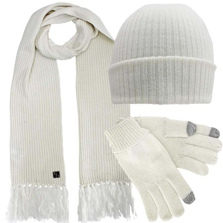Ribbed Knit Men's 3 Piece Hat Scarf & Texting Gloves Set - White Magician Gloves