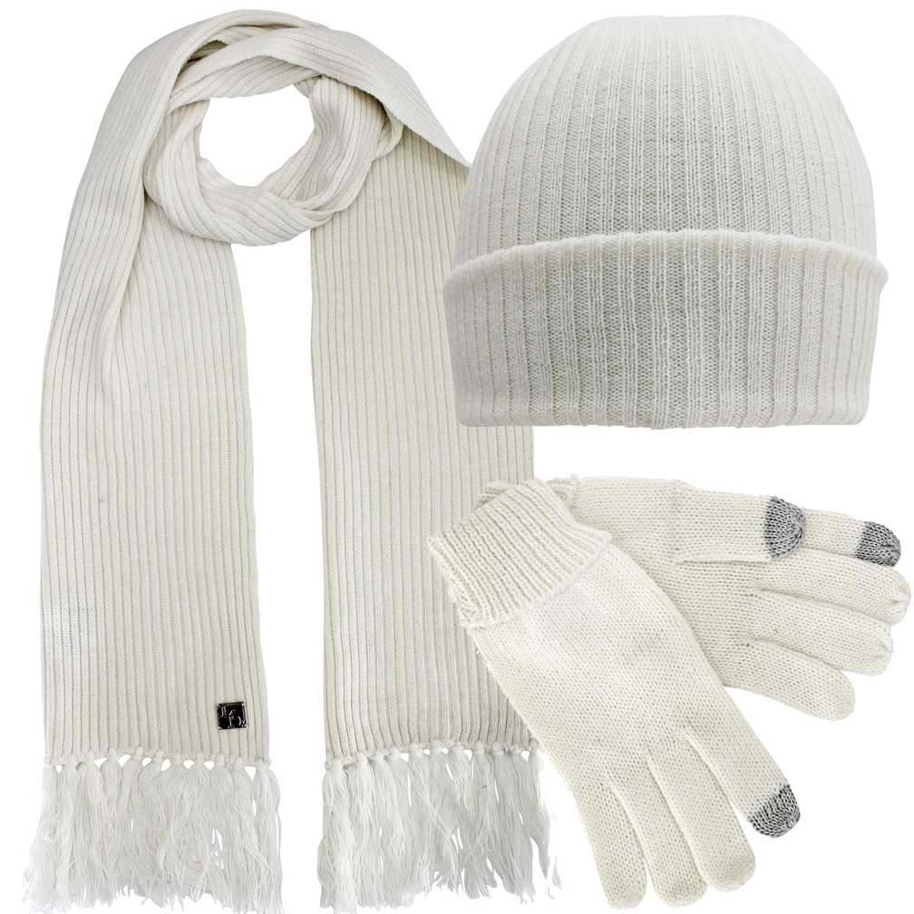 Ribbed Knit 3 Piece Hat Scarf & Texting Gloves Set