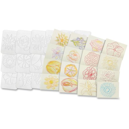 Roylco Flower Rubbing Plates, 4-1/2 x 6-1/2 Inches, Set of 16