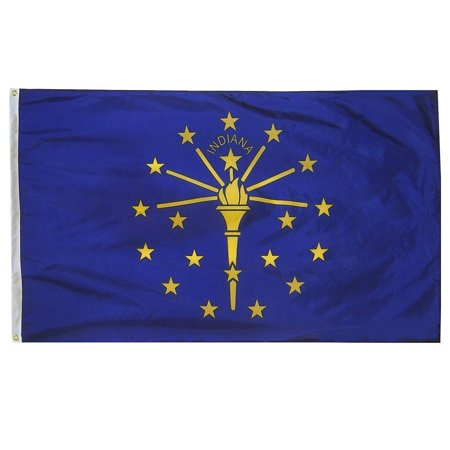 Indiana Flag Pictures (G128 Indiana State Flag 150D Quality Polyester 3x5 ft Printed Brass Grommets Flag Indoor/Outdoor - Much Thicker and More Durable than 100D and 75D Polyester )