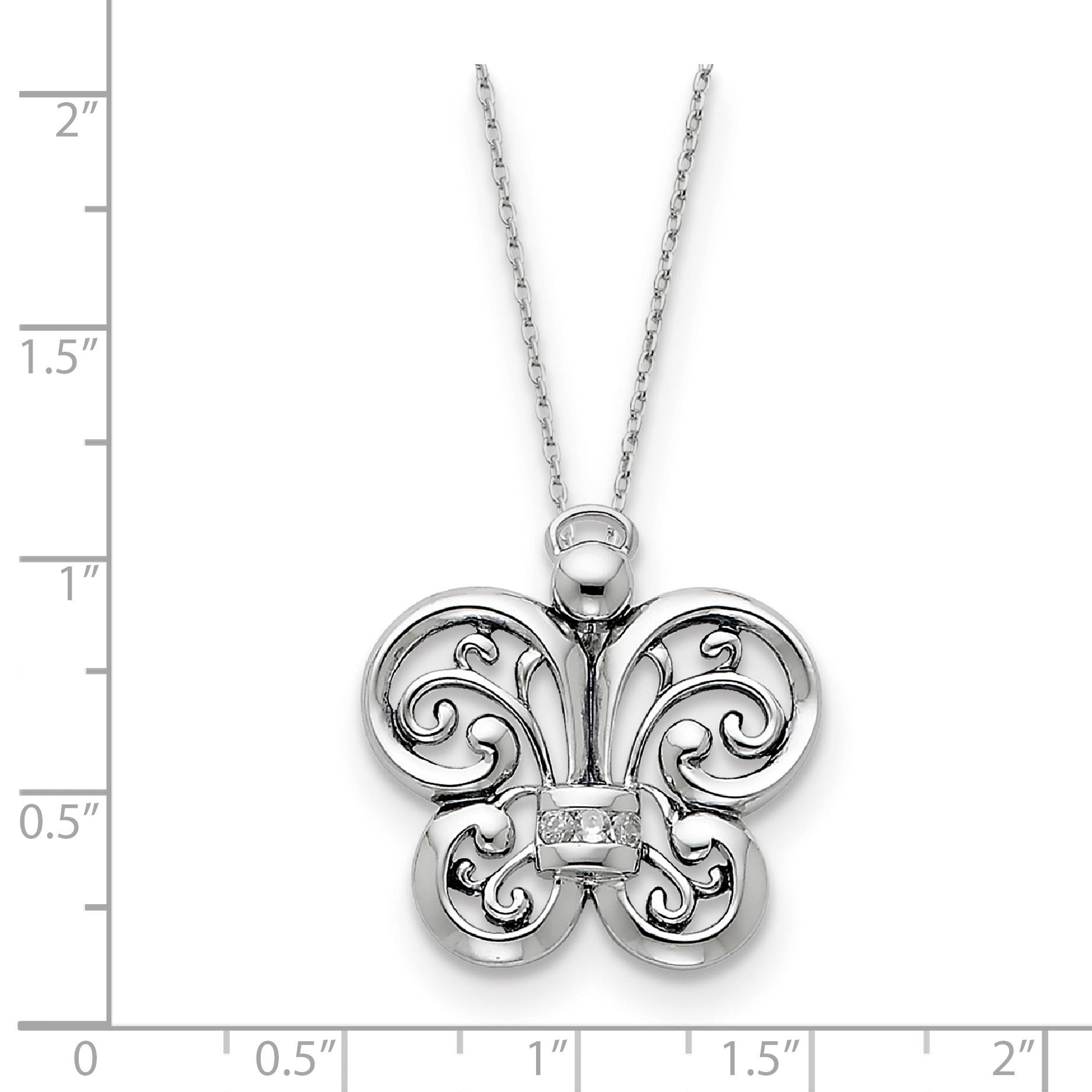Sterling Silver Antiqued CZ Angel of Courage 18in Necklace 18 Inch - image 1 of 3