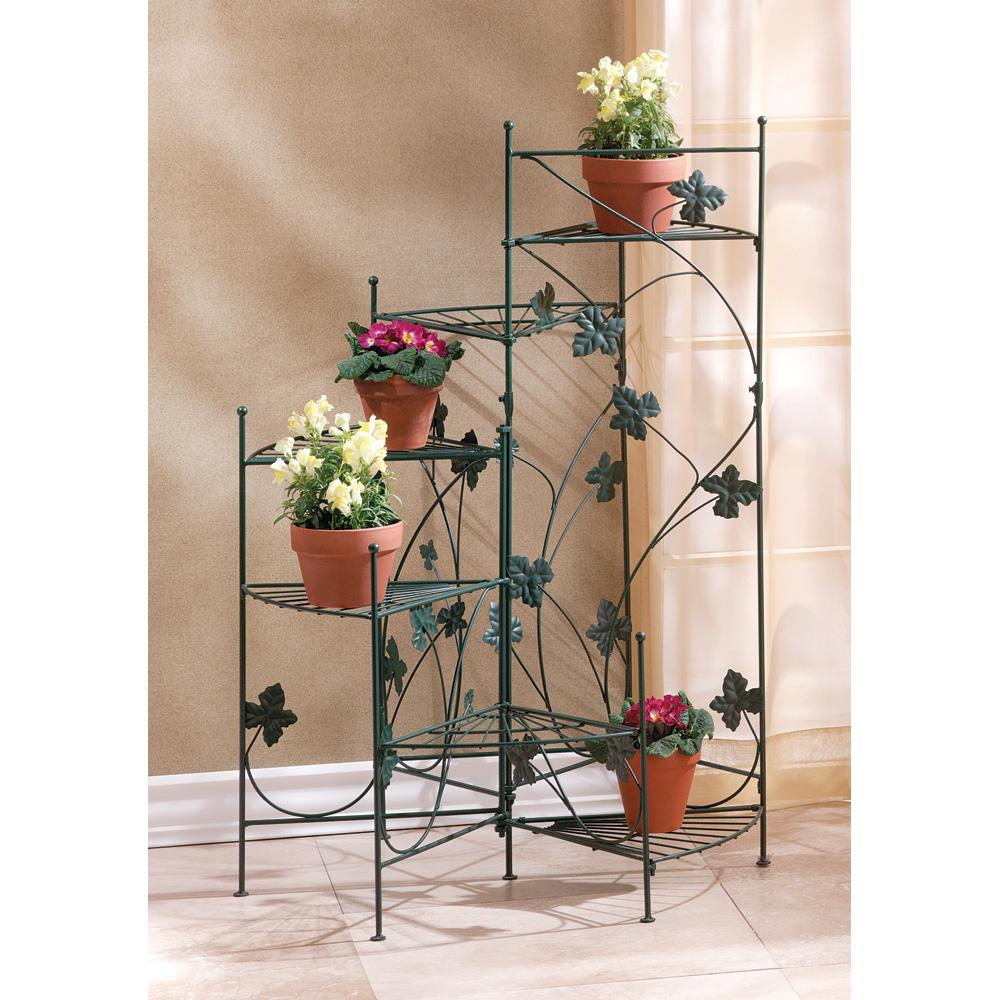 Green Leaves on Vines Six Shelf Spiral Staircase Plant Stand and Decorative Flower Pot Holder for Indoor Garden Decor by Home 'n Gifts