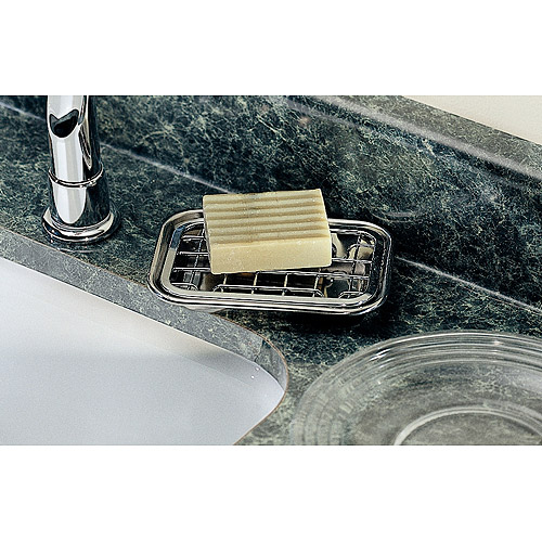 InterDesign Gia Bar Soap Dish for Bathroom Vanities, Kitchen Sink, 2 Piece, Polished