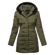 Ma Croix Womens Winter Lightweight Poly Down Puffer Hooded Parka Coat