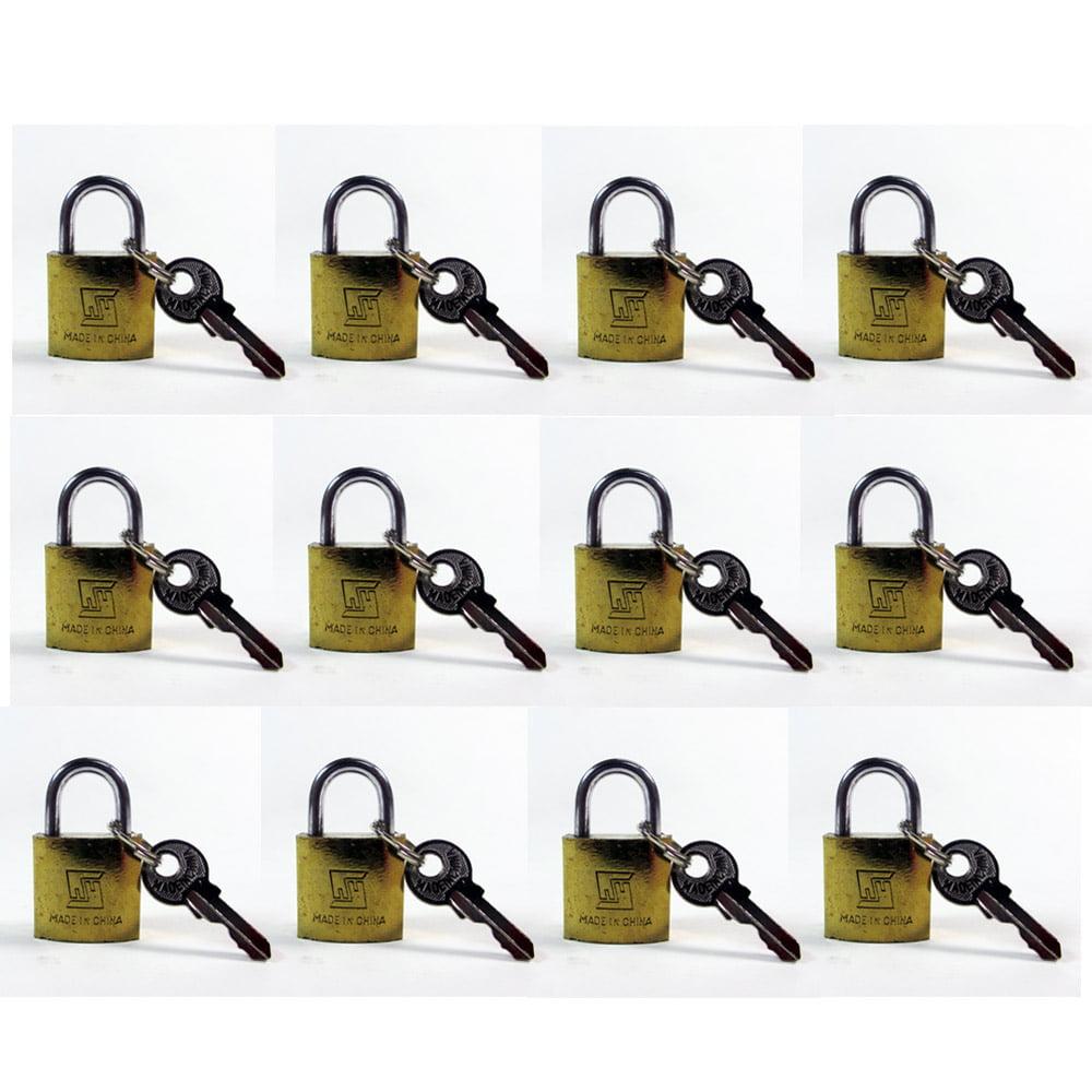 Lot Of 12 Padlock Small Brass 20MM Mini Tiny Lock Keyed Box Jewelry Drawer 2 Key