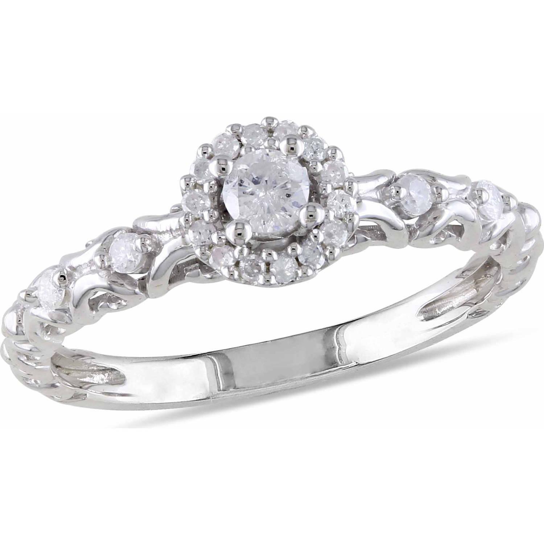 Miabella 1/4 Carat T.W. Diamond Sterling Silver Halo Engagement Ring