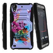 HTC Desire 530 Case | HTC Desire 630 Case [ Armor Reloaded ] Extreme Rugged Protection Case with Holster and Built In Kickstand - Purple Flowers
