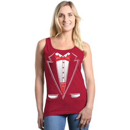 Shop4Ever Women's Classic Red Bow Tie Tuxedo Suit Party Costume Graphic Tank (Suit Tank)