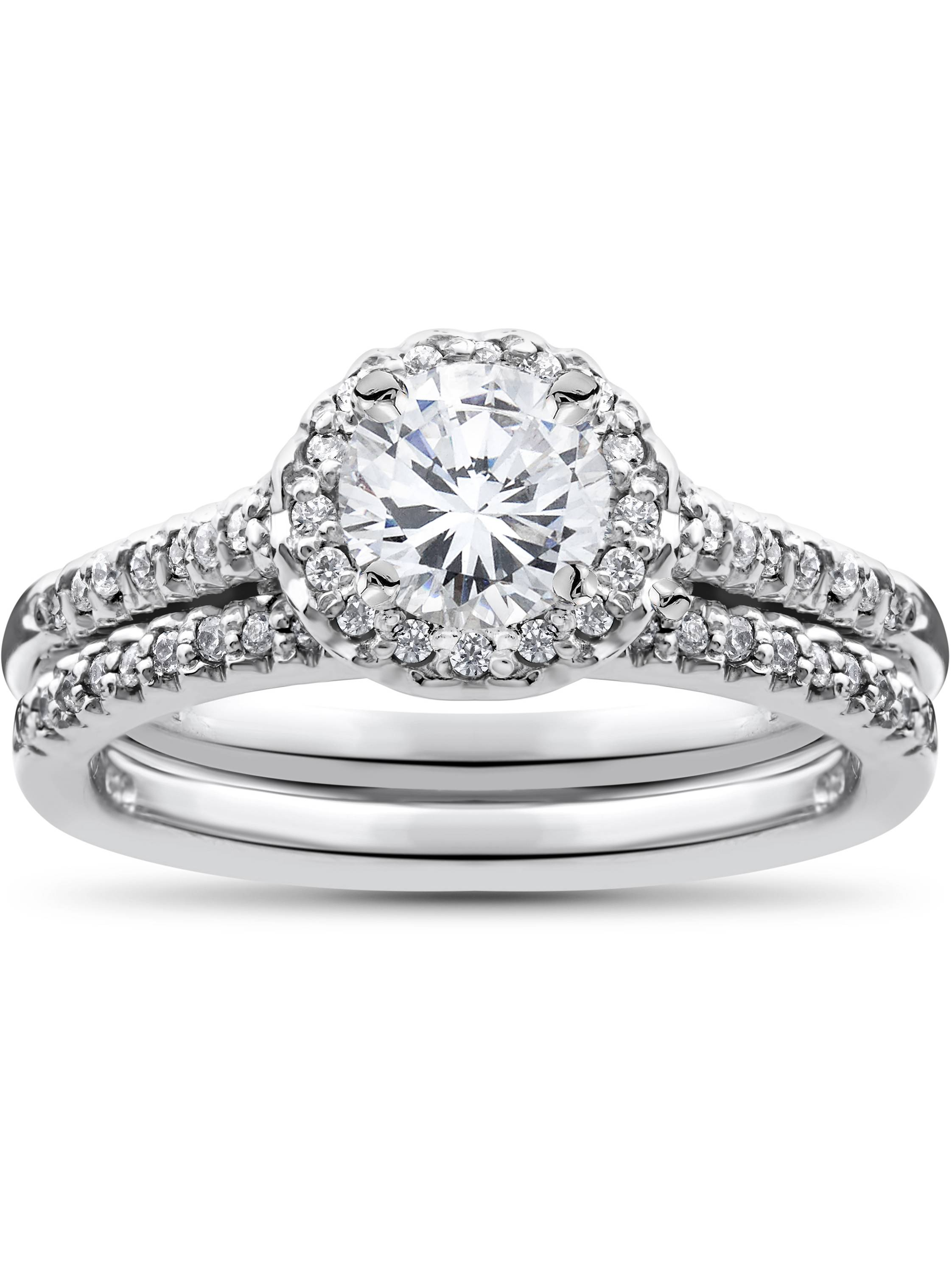 1ct Diamond Halo Matching Soliaire Wedding Engagement Ring Set 10K White Gold