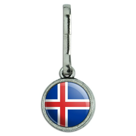 Charm Strap Purse Zipper Pull - Iceland National Country Flag Antiqued Charm Clothes Purse Backpack Zipper Pull