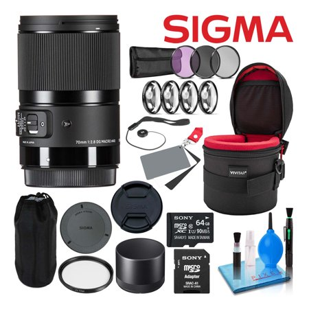 Sigma 70mm f/2.8 DG Macro Art Lens for Canon EF-Mount Lenses 271954 Deluxe Bundle Includes - 64GB Memory Card + 4-Piece Close-Up Macro Lens Kit + Padded Lens Case + 4-Piece Filter Kit + Much (Used Canon 24 70mm Lens For Sale)