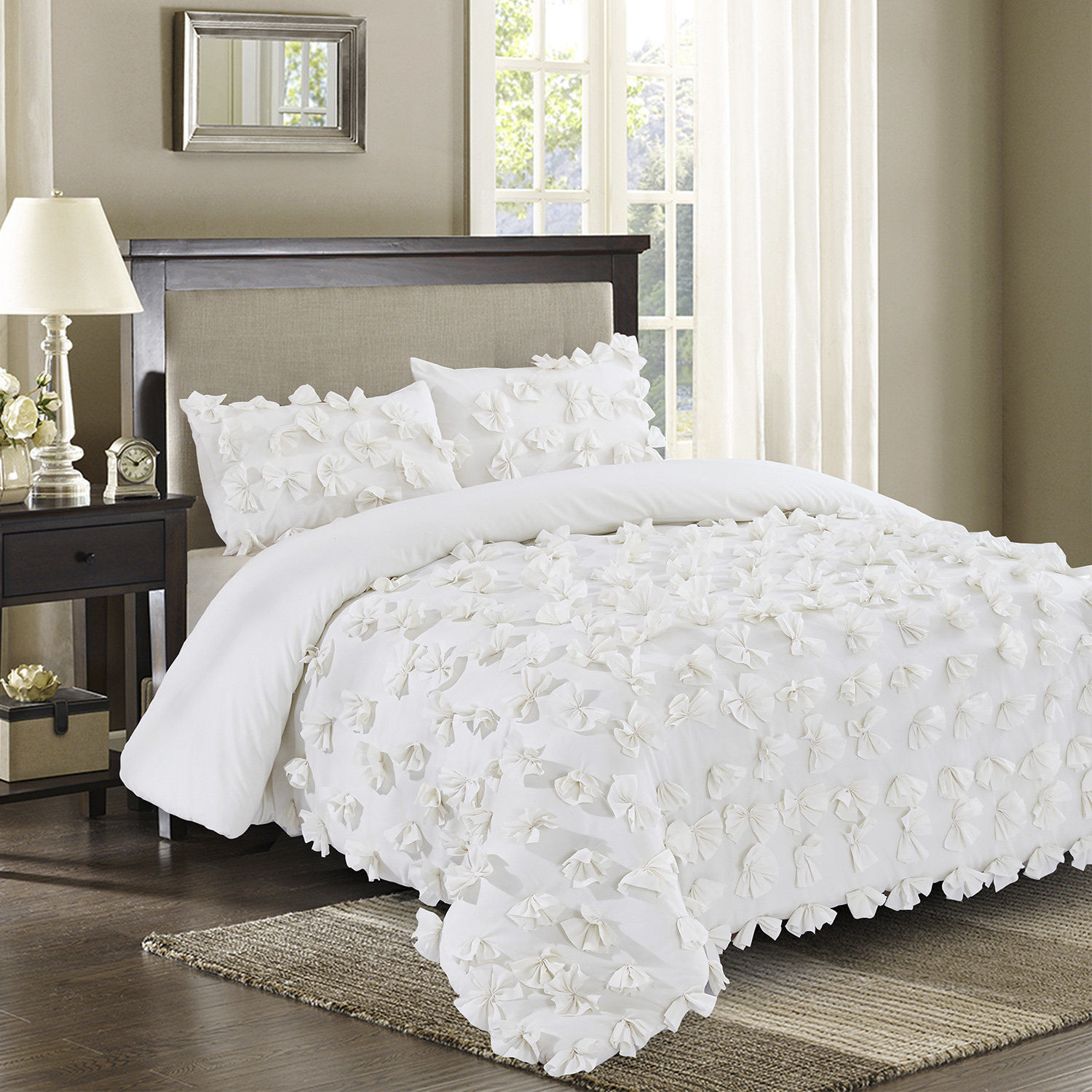 3 Piece Handsewn Bow Ties Romantic King Size Comforter Set Ivory Premium Microfiber Fabric Shabby Chic Style Hypoallergenic Poly Fill Bedding Bed In A Bag Jk Enfield Ivory King Walmart Com Walmart Com