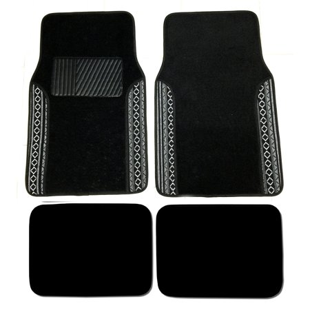 Premium Baja Inca Carpet 4Pc Front   Rear Driver Passenger Floor Mats Cars Trucks Sedans Suvs Black And White Baja Tribal    Premium Quality 2 Universal    By Autosphere