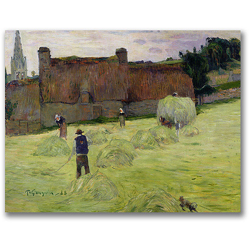 "Trademark Fine Art ""Haymaking in Brittany"" Canvas Wall Art by Paul Gauguin"