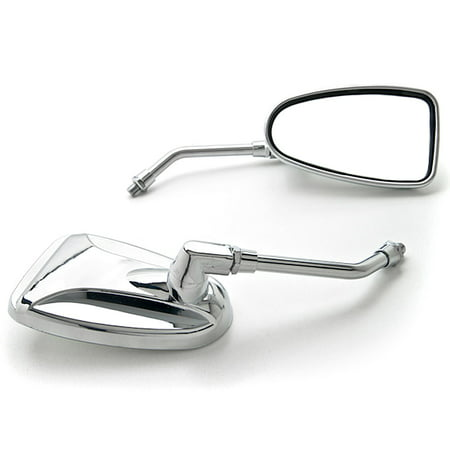 Kapsco Moto Custom Rear View Mirrors Chrome Pair w/Adapters Compatible with Harley Davidson Dyna Super Glide Sport - image 1 of 3
