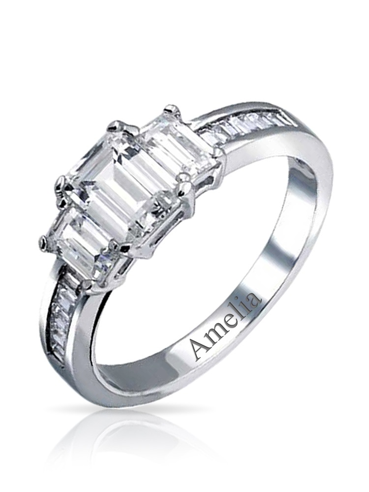 Princess Kylie Three Stone Set Cubic Zirconia Classic Designer Ring Rhodium Plated Sterling Silver