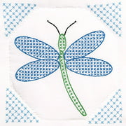 "Jack Dempsey Dragonfly Stamped White Quilt Blocks, 9"" x 9"""