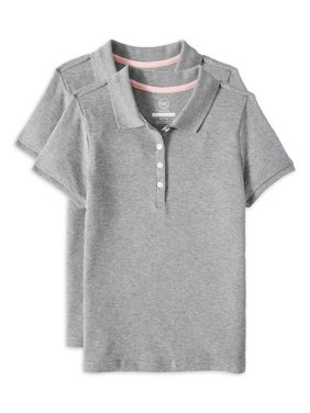 Wonder Nation Girls School Uniform Short Sleeve Interlock Polo, 2-Pack Value Bundle (Little Girls & Big Girls)