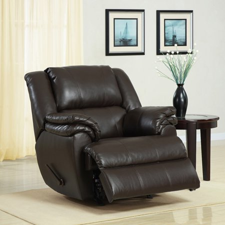 Dorel Home Ashford Padded Rocker Recliner Dark Brown Faux