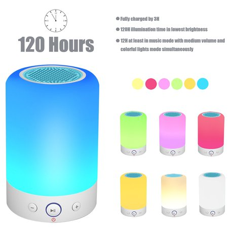 Bluetooth Speakers Wireless Stereo Subwoofer Smart Touch Lamp Color
