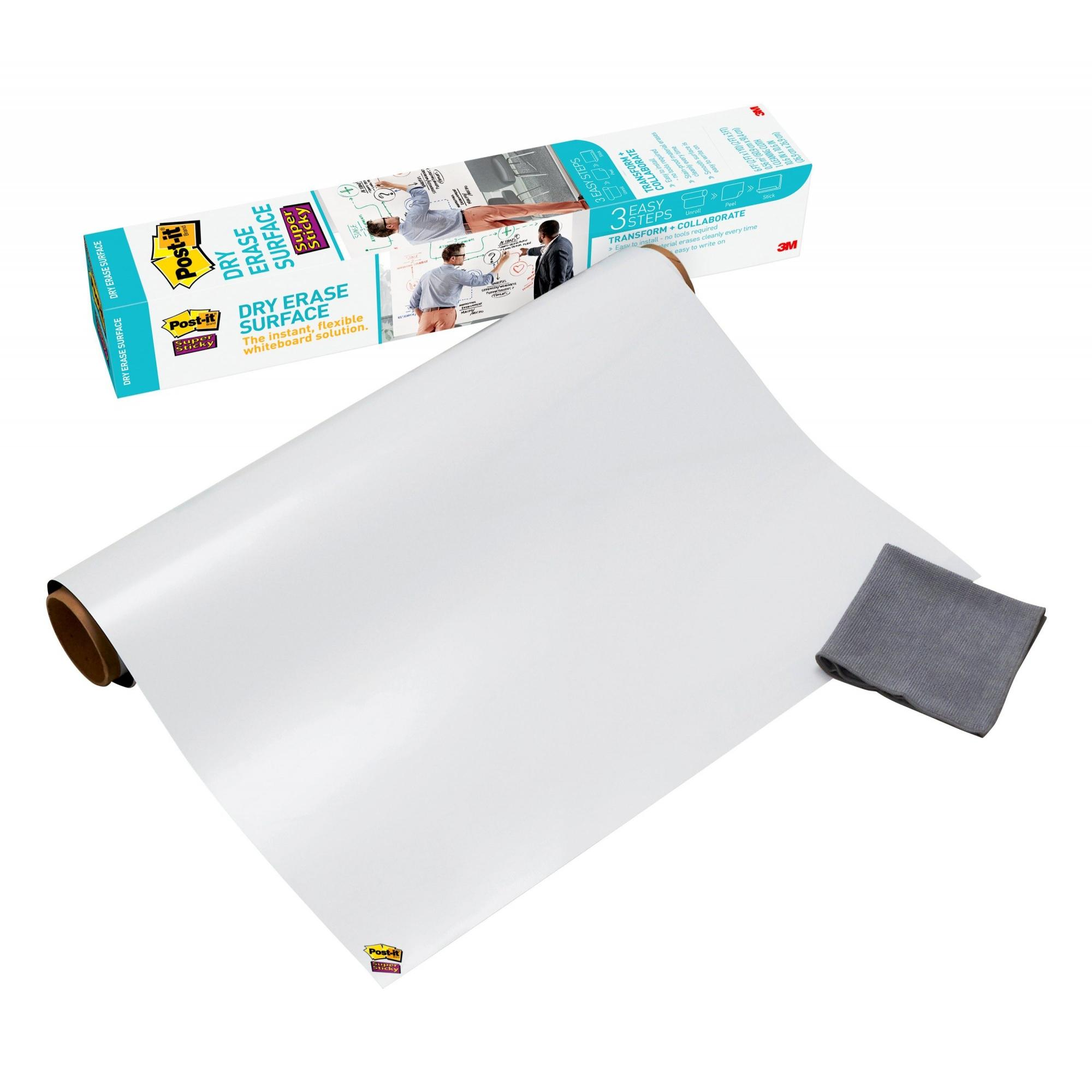 Post-it Super Sticky Self-Stick Dry Erase Film Surface, White, 3 x 2-Ft, 6 Sq Ft.