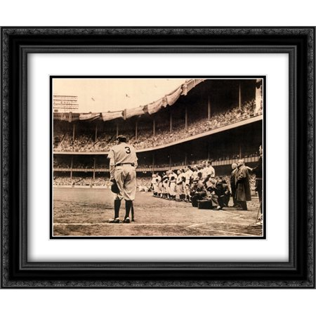 (Babe Ruth Bows Out, c.1948 2x Matted 24x20 Black Ornate Framed Art Print by Nat Fein)