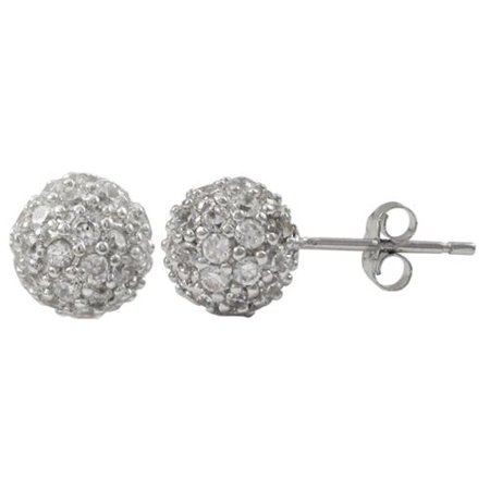 9623cbb0f Luxiro - Luxiro Sterling Silver Pave Cubic Zirconia Ball Stud Earrings -  Walmart.com