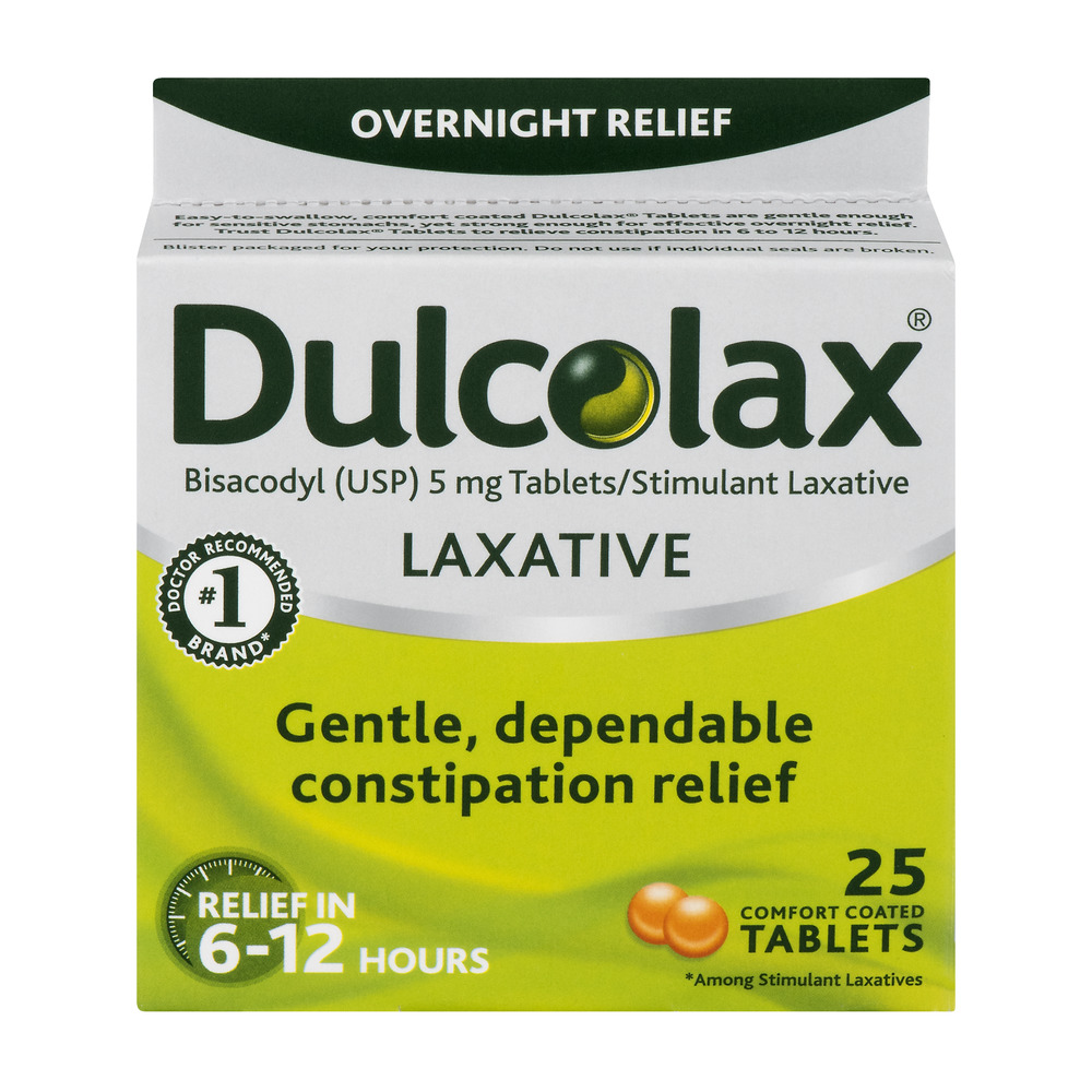 Dulcolax Laxative Comfort Coated Tablets 25ct,bisacodyl USP 5mg