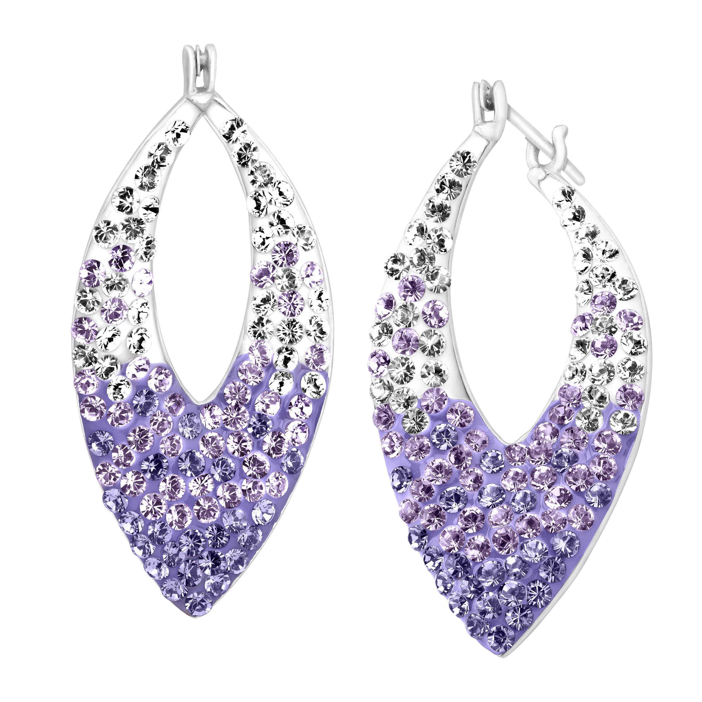 Crystaluxe Pointed Hoop Earrings with Lavender Swarovski Crystals in Sterling Silver
