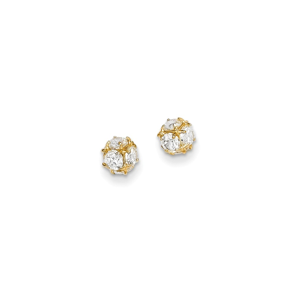 14k Yellow Gold CZ Post Stud Earrings. (5.6MM)