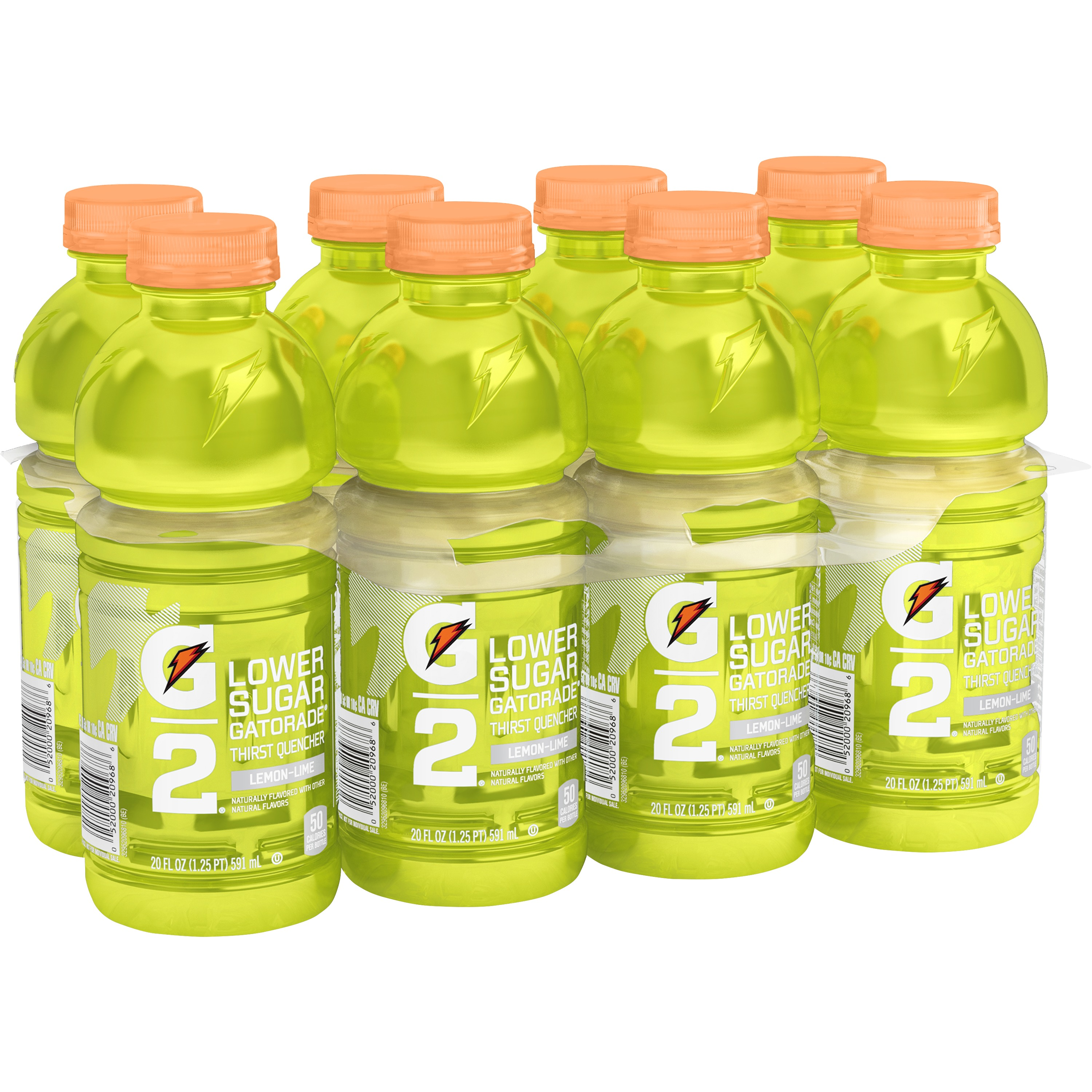 G2 Lower Sugar Gatorade Thirst Quencher Sports Drink, Lemon-Lime, 20 Fl Oz, 8 Count