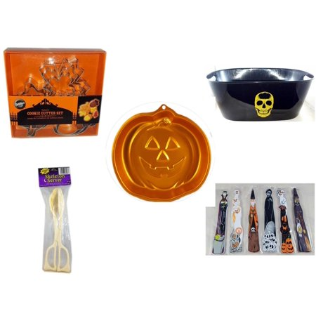 Halloween Fun Gift Bundle [5 Piece] - Wilton Autumn 8-Piece Cookie Cutter Set - Black With Skeleton Oval Party Tub - Wilton Iridescents Jack-O-Lantern Pan - Skeleton Server  -  Wooden Craft Stick Fi