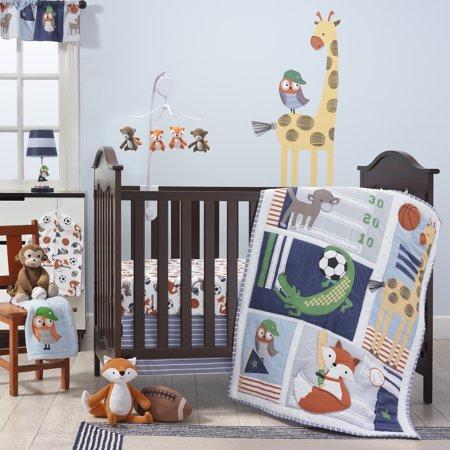 Bedtime Originals Baby League 7-Piece Crib Bedding Set - Blue, Gray, Animals