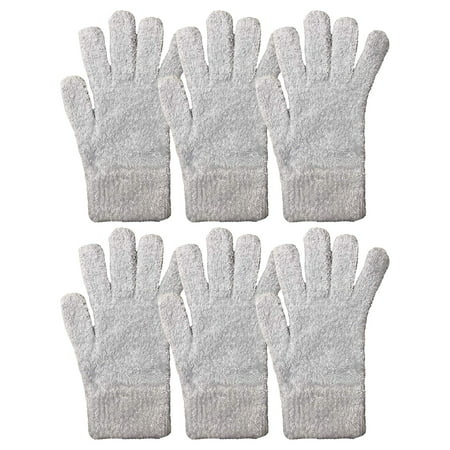 Yacht & Smith Mens Womens, Warm And Stretchy Winter Gloves (6 pack Light Blue