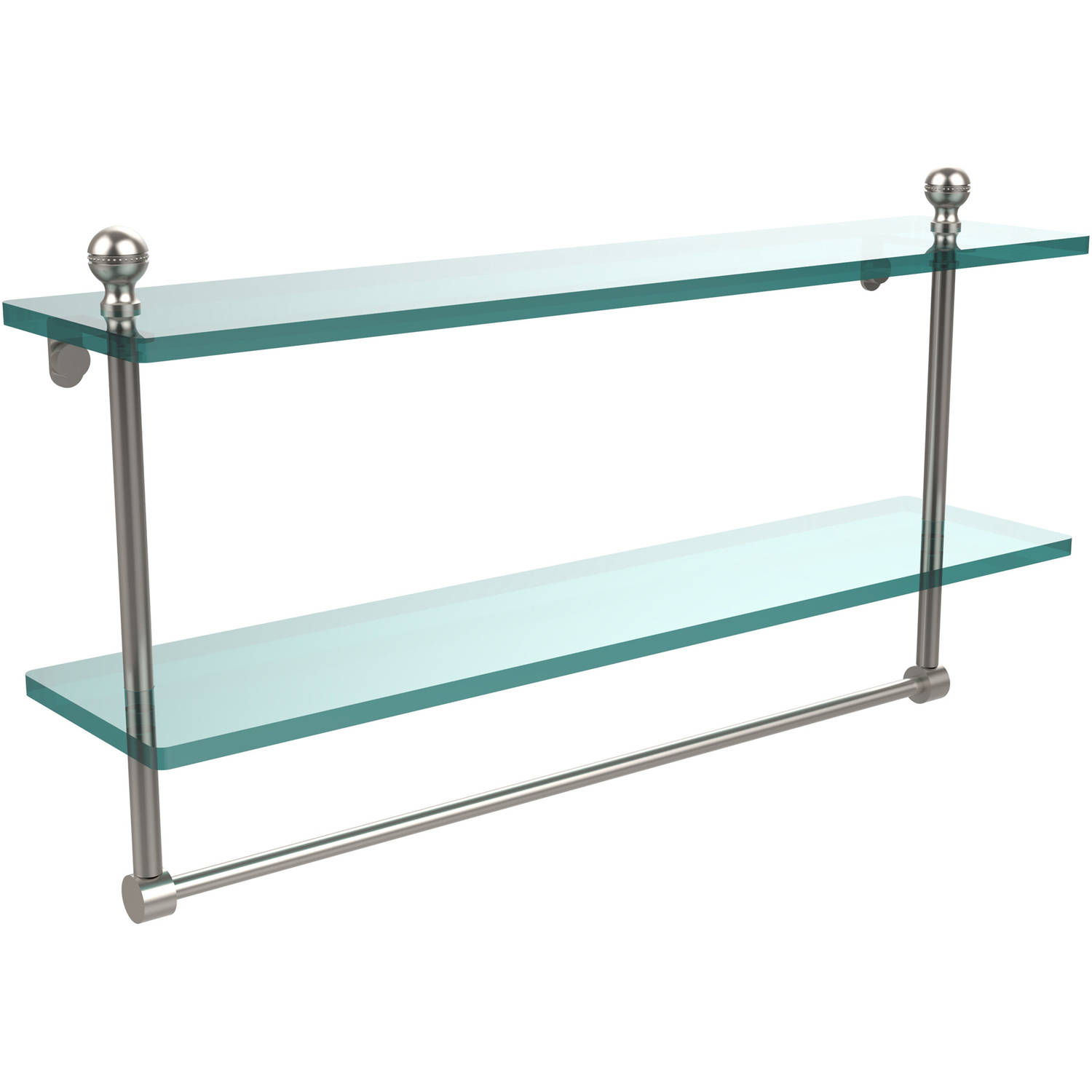 "Mambo Collection 22"" 2-Tiered Glass Shelf with Integrated Towel Bar (Build to Order)"