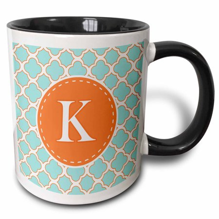 3dRose Letter K Monogram Orange and Blue Quatrefoil Pattern - Two Tone Black Mug, 11-ounce