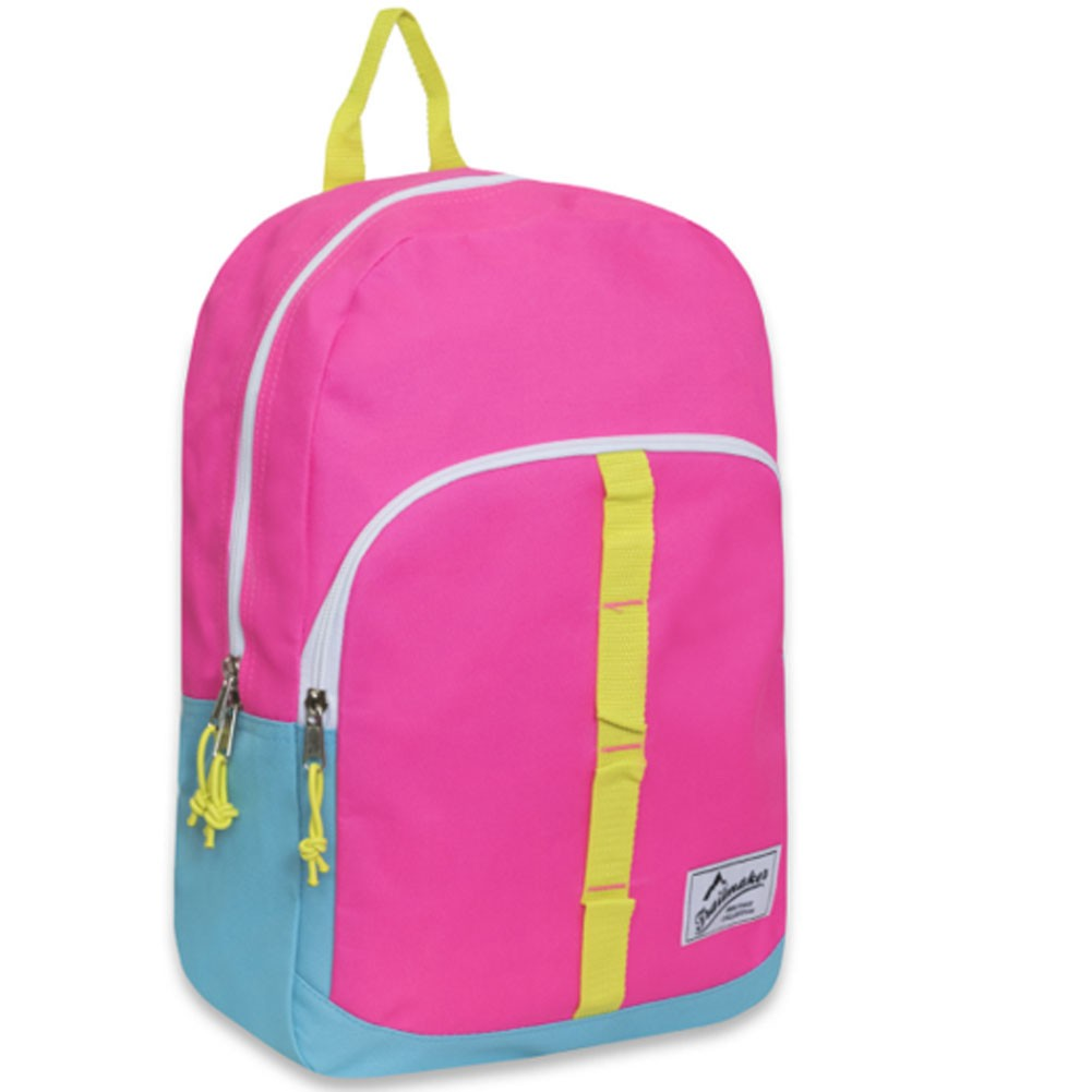 TrailMaker Girls Pink Yellow Stitch Detail Padded Shoulder Strap Backpack