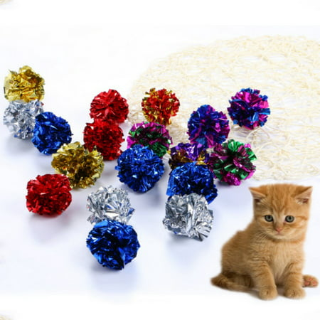 12pcs Mylar Crinkle Balls Cat Toys Best Interactive Crinkle Cat Toy Balls Ever Independent Pet Kitten Cat Toys for Fat Real Cats Kittens Exercise, Soft/Light- Mix