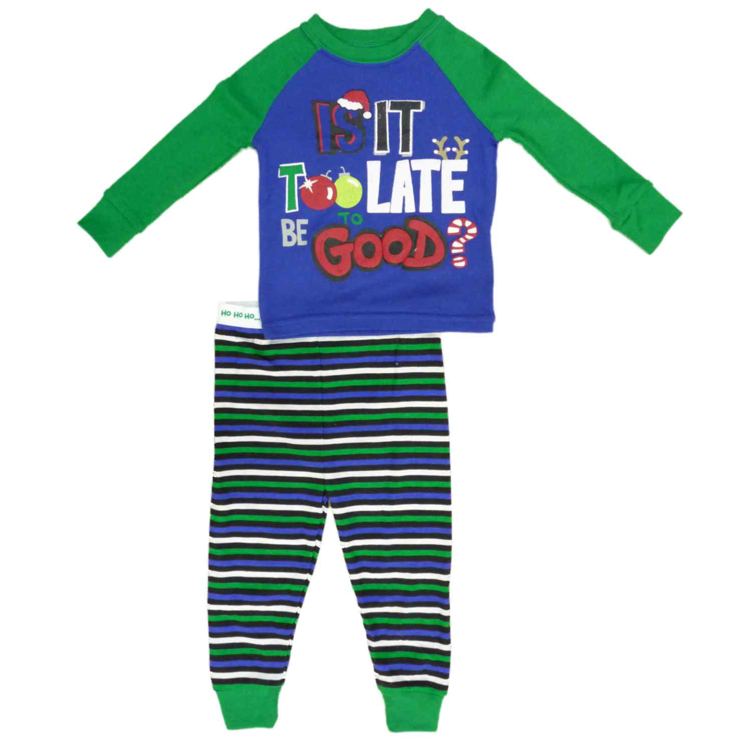 Holiday Time Infant & Toddler Boys Too Late Sleepwear Christmas Pajama Set