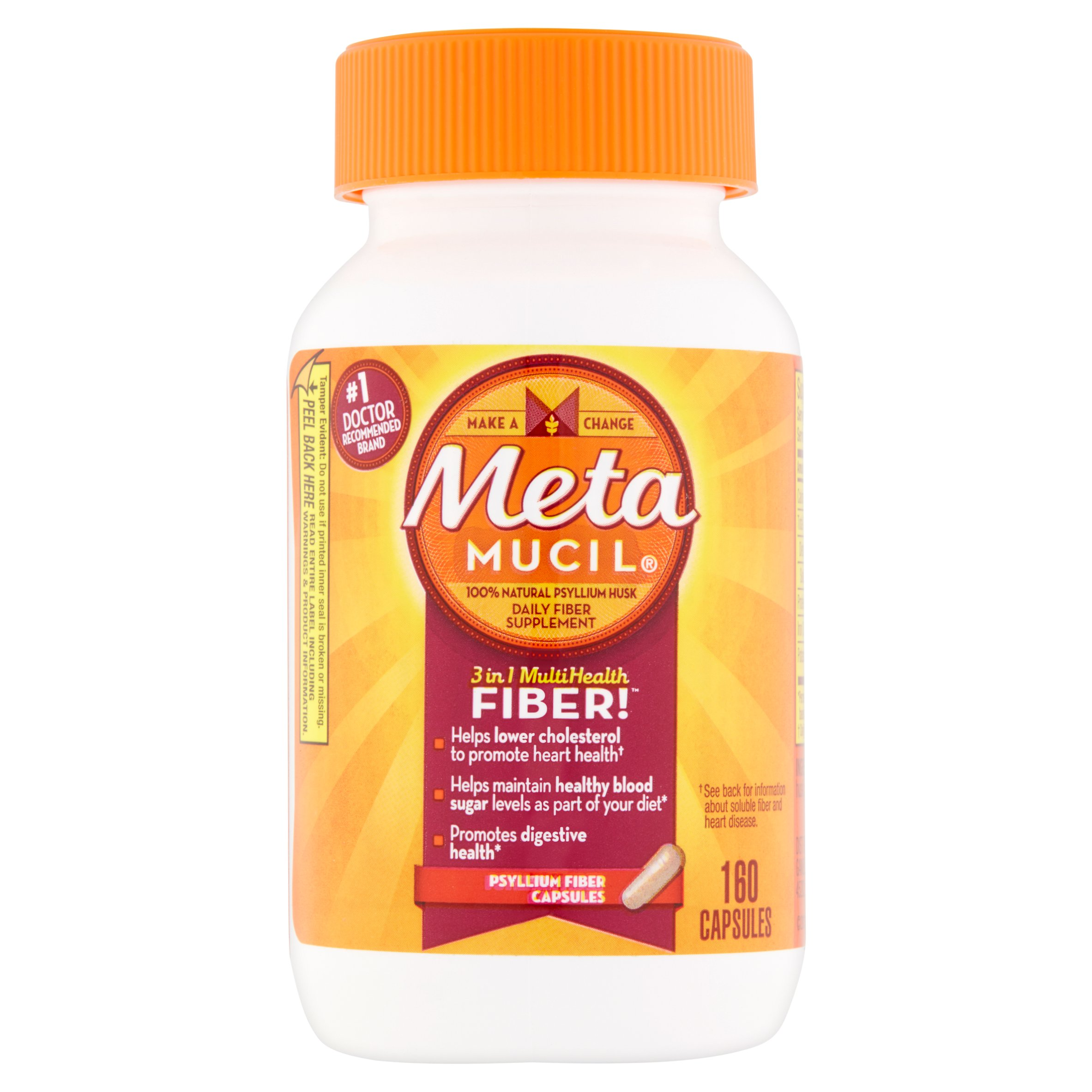 Metamucil 3-in-1 Multi-Health Fiber Supplement Capsules, 160 count