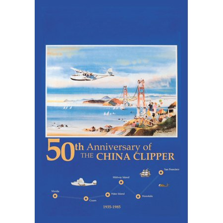 Travel & Leisure during the Heyday of Commercial Air Travel when Flying was exciting and foreign locations exotic  PAN AM 50th Anniversary of the CHINA CLIPPER Image of watercolor original of China Cl
