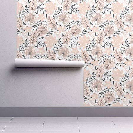 Peel-and-Stick Removable Wallpaper Palm Leaves Tropic Exotic Nursery Girly - Girly Halloween Wallpaper