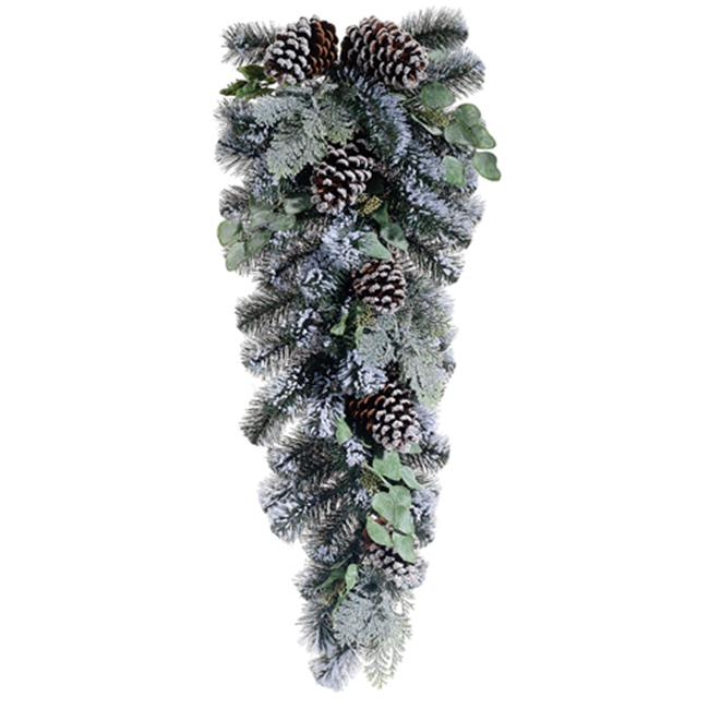 NorthLight 33 in. Artificial Flocked Pine Cone & Eucalypt...