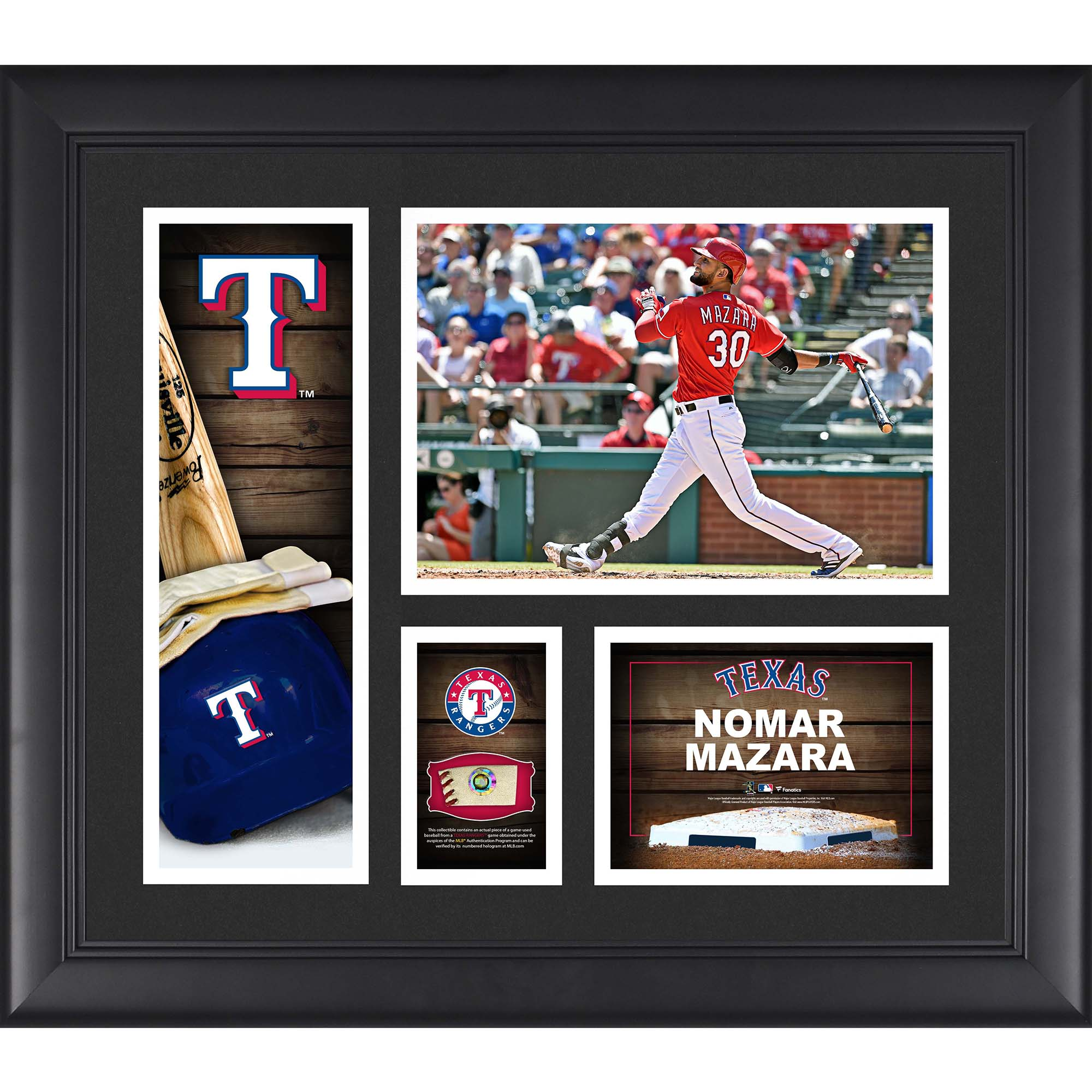 "Nomar Mazara Texas Rangers Fanatics Authentic Framed 15"" x 17"" Player Collage with a Piece of Game-Used Ball - No Size"